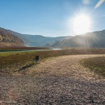 Rollstuhl und Landschaft