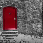 Rote Tür in der Marburger Schlossmauer