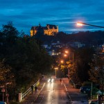 Marburger Schloss bei blauem Himmel